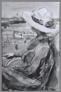 Jonge vrouw op het Palace terras, Scheveningen