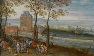 Weids landschap met kasteel Mariemont met op de voorgrond aartshertog Albrecht VII en familie