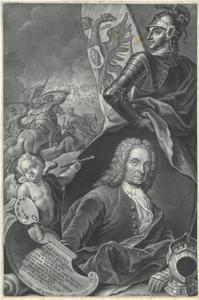 Portret ten halven lijve van de schilder Georg Philipp Rugendas (1701-1774) met een veldslag op de achtergrond