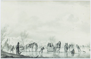 Winterlandschap met schaatsers en sleden op het ijs