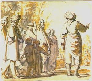 De bloedvloeiende vrouw raakt de zoom van Jezus' mantel aan; rechts  Jaïrus die Jezus zijn huis wijst waar zijn dochter gestorven is (Mattheüs 9:18-26)