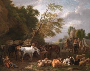 Landschap met een legerkamp en rustend vee