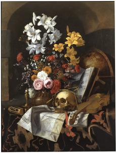 Vanitasstilleven met een boeket bloemen, schedel, globe, viool en documenten