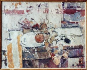 Stilleven met wit bord, appel en judaspenning