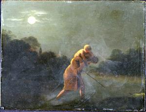 Landschap met de H. Christoffel die Christus de rivier over draagt