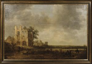 Ruine van de Abdij te Rijnsburg vanuit het zuidwesten, in een gefantaseerde omgeving
