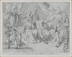 Jupiter in de gedaante van Amphitryon en Alcmene, de moeder van Hercules