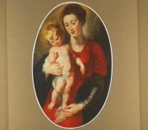 Madonna met rozenkrans en zegenend staand kind