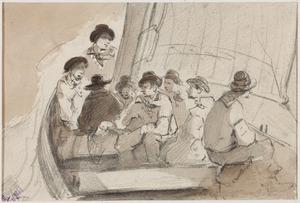 Schets van een groep mannen in een boot