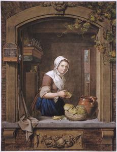 Keukenmeisje in een venster