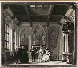 Scène uit het toneelstuk 'Jacob Simonsz. de Rijk' in het decor 'de Kloosterkamer' (4de bedrijf, 2de toneel)