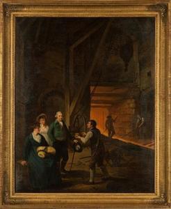 Groepsportret van Jan Daniel Huichelbos van Liender (1732-1809), Petronella van Liender (1743-1821) en Adriana Reepmaker (1773-1855) in een ijzergieterij te Broseley (Engeland)