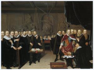 Alllegorie op de Dordtse synode en de twist tussen remonstranten en contra-remonstranten met onder andere portretten van Maurits van Oranje-Nassau (1567-1625) en Johan van Oldenbarnevelt (1547-1619)