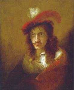 Portret van een man met rode baret