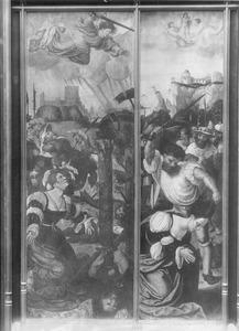 De vernieling van het martelrad van de H. Catharina; de onthoofding van de H. Catharina
