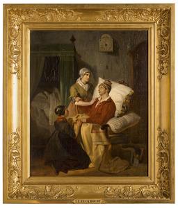 Interieur met zieke man