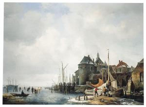 De Rietdijkse Poort en het Hoofd te Dordrecht bij winter