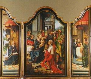 Drieluik met de aanbidding der Wijzen (middenpaneel), de annunciatie (linkerluik) en de presentatie (rechterluik)