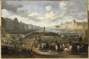 Gezicht op het Louvre in Parijs vanaf de Pont Neuf met het ruiterstandbeeld van Hendrik IV