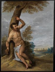 De Heilige Sebastiaan vastgebonden aan een boom