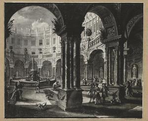 Binnenplaats van een gefantaseerd klassicistisch gebouw