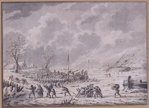Winterlandschap met het ontladen van een boot