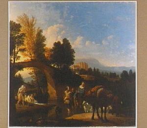 Zuidelijk landschap met reizigers en baders in een rivier bij een stenen brug