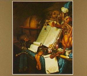 Vanitasstilleven met boeken, globe, schedel en muziekinstrumenten