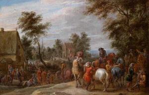 Dorpsgezicht met een leger op doortocht; een soldaat blaast reveille