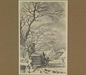 Winters landschap met schaatsers en een boerderij (de winter, uit een serie met de vier seizoenen)