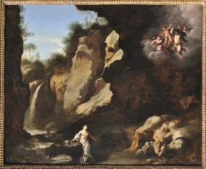Rotslandschap met de boetende Maria Magdalena