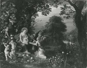 Landschap met Maria met kind en engelen