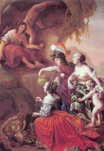 Eris, de godin van de tweedracht, geeft de gouden appel aan Juno, Minerva en Venus