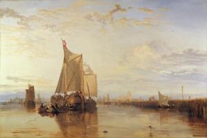 Dordtse pakketboot uit Rotterdam wachtend op het keren van het tij