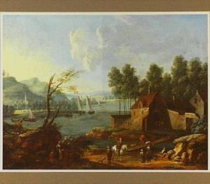 Rivierlandschap met zeilschepen