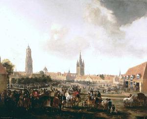 Gezicht op de Paardenmarkt in Delft met een paardenmarkt