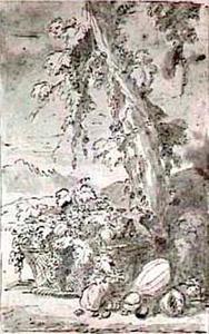 Vruchtenstilleven in een mand naast een boom