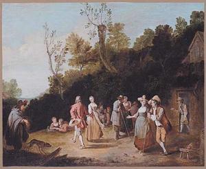 Vrolijk gezelschap met dansend paar voor een herberg