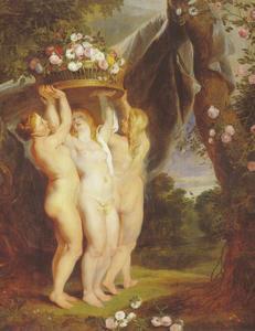 Drie gratiën met een mand  met rozen