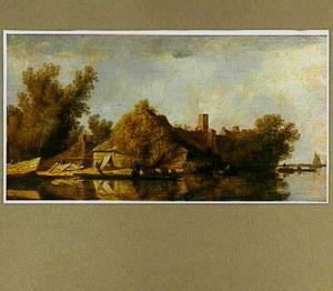 Een veerpont op een rivier; op de oever een boerderij