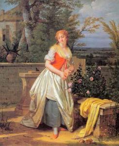Jonge vrouw prikt haar vinger aan een rozenstruik