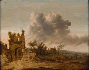 Landschap met de ruïne van de voorpoort van Kasteel Brederode, gezien vanuit het zuidwesten