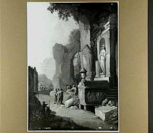 Italiaans landschap met antiek grafmonument