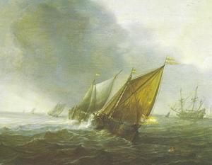 Zeilschepen op ruwe zee
