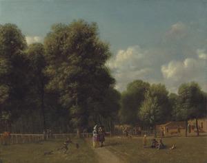 Gezicht op het Haarlemmerhout met elegante figuren en kinderen