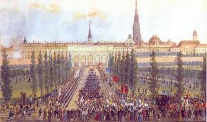 Aankomst van Keizer Frans I in de Hofburg na zijn genezing op 29 oktober 1833