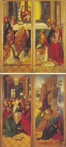 De Mis van de H. Gregorius (voorzijde luiken); de nederdaling van de H. Geest (achterzijde linkerluik); Christus in de Hof van Olijven (achterzijde rechterluik)