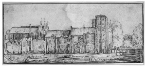 Hofvijver met gebouwen van het binnenhof te Den Haag