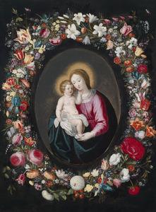 Bloemenkrans rond een voorstelling van Maria met kind