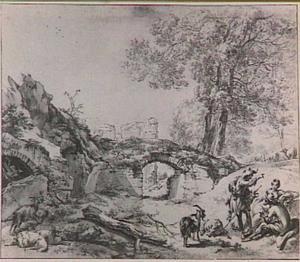 Rustende herders nabij de ruïne van kasteel Brederode vanuit het zuiden